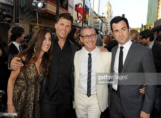 Producers Jennifer Gibgot and Garrett Grant director Adam Shankman and writer Justin Theroux arrive at the premiere of Warner Bros Pictures' 'Rock of...
