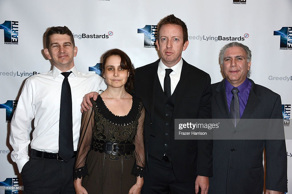 Producers Jeremy Chilvers, Marianna Yarovskaya, director Craig Scott Rosebraugh, producer/co-writer Patrick Gambuti,Jr. arrive at the screening of 'Greedy Lying Bastards' at Harmony Gold Theatre on March 6, 2013 in Los Angeles, California.