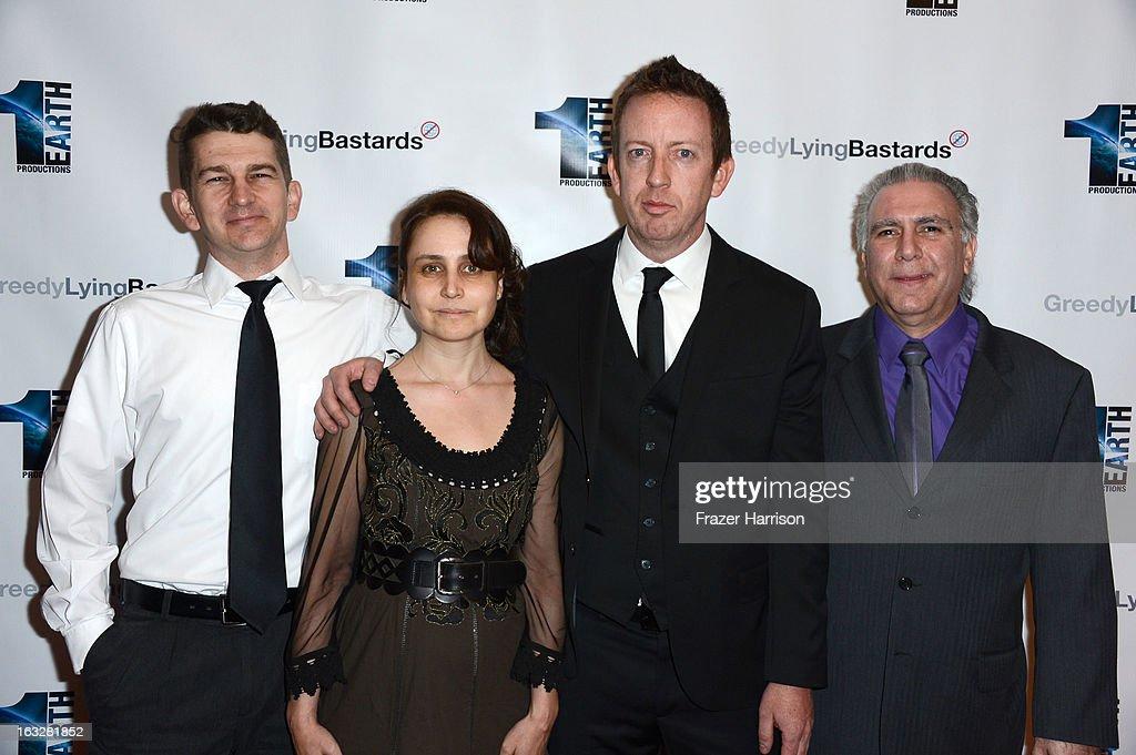 Producers Jeremy Chilvers, Marianna Yarovskaya, director Craig Scott Rosebraugh, producer/co-writer Patrick Gambuti,Jr. arrive at the screening of 'Greedy Lying Bastards' at Harmony Gold Theatre on March 6, 2013 in Los Angeles, California.