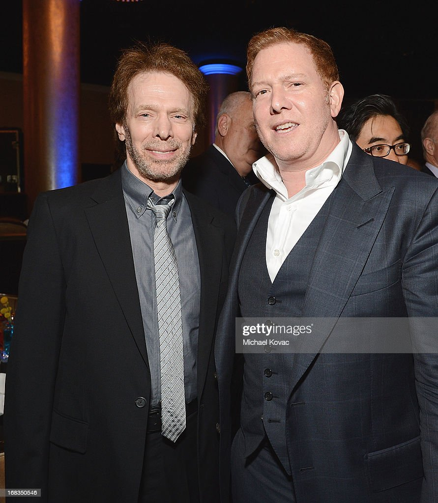 Producers Jerry Bruckheimer (L) and Ryan Kavanaugh attend the Anti-Defamation League Centennial Entertainment Industry Awards Dinner Honoring Jeffrey Katzenberg at The Beverly Hilton Hotel on May 8, 2013 in Beverly Hills, California.