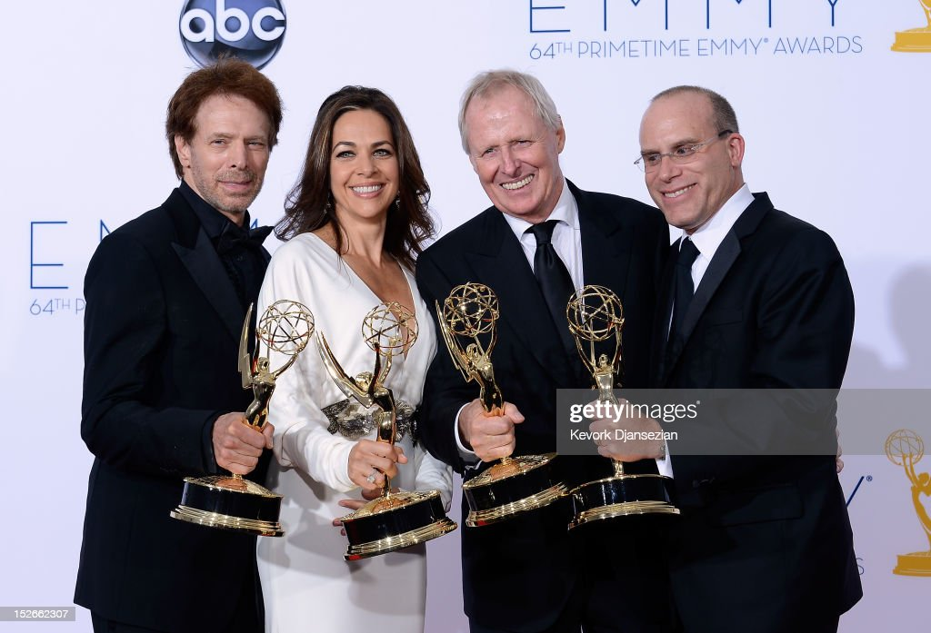 Producers Jerry Bruckheimer, Elise Doganieri, Bertram van Munster and Jonathan Littman, winners Outstanding Reality-Competition Program for 'The Amazing Race,' pose in the press room during the 64th Annual Primetime Emmy Awards at Nokia Theatre L.A. Live on September 23, 2012 in Los Angeles, California.
