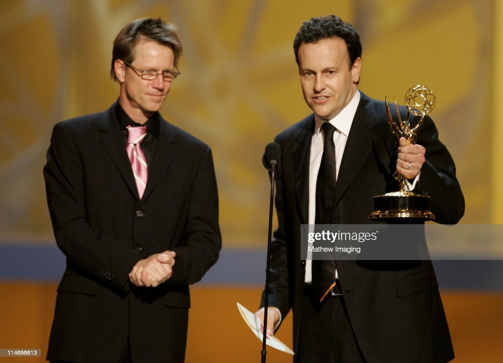 Producers Jim Vallely and <a gi-track='captionPersonalityLinkClicked' href=/galleries/search?phrase=Mitchell+Hurwitz&family=editorial&specificpeople=240567 ng-click='$event.stopPropagation()'>Mitchell Hurwitz</a>, winners Outstanding Comedy Series for 'Arrested Development'