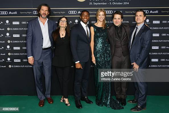 Producers John Norris Victoria Pearman actor Chadwick Boseman Nadja Schildknecht Karl Spoerri and Tate Taylor attend the 'Get On Up' Opening Film and...