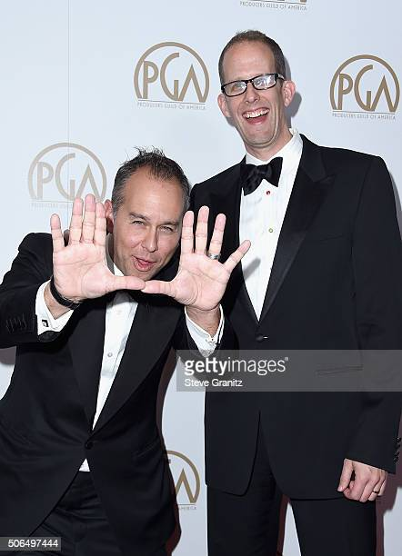 Producers Jonas Rivera and Pete Docter attend the 27th Annual Producers Guild Awards at the Hyatt Regency Century Plaza on January 23 2016 in Century...