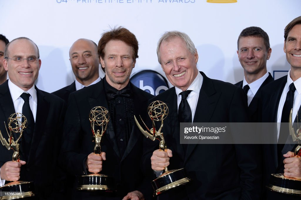 Producers Jonathan Littman, Jerry Bruckheimer, Bertram van Munster and other producers, winners Outstanding Reality-Competition Program for 'The Amazing Race,' pose in the press room during the 64th Annual Primetime Emmy Awards at Nokia Theatre L.A. Live on September 23, 2012 in Los Angeles, California.