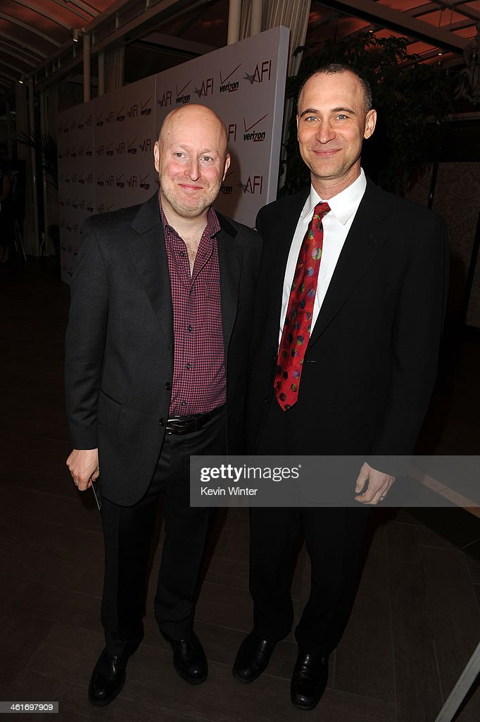 Producers Joseph Weisberg (L) and Joel Fields attend the 14th annual AFI Awards Luncheon at the Four Seasons Hotel Beverly Hills on January 10, 2014 in Beverly Hills, California.
