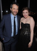 Producers Judd Apatow and Lena Dunham attend the after party for the HBO with the Cinema Society New York premiere of HBO's 'Girls' at the The Top of...