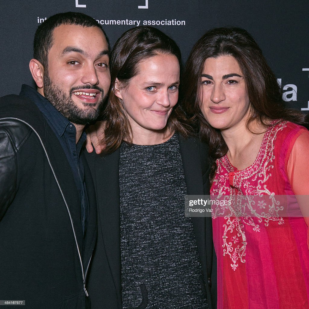 Producers Karim Amer, Alexandra Johnes and director <a gi-track='captionPersonalityLinkClicked' href=/galleries/search?phrase=Jehane+Noujaim&family=editorial&specificpeople=234830 ng-click='$event.stopPropagation()'>Jehane Noujaim</a> attend the International Documentary Association's 2013 IDA Documentary Awards at Directors Guild of America on December 6, 2013 in Los Angeles, California.