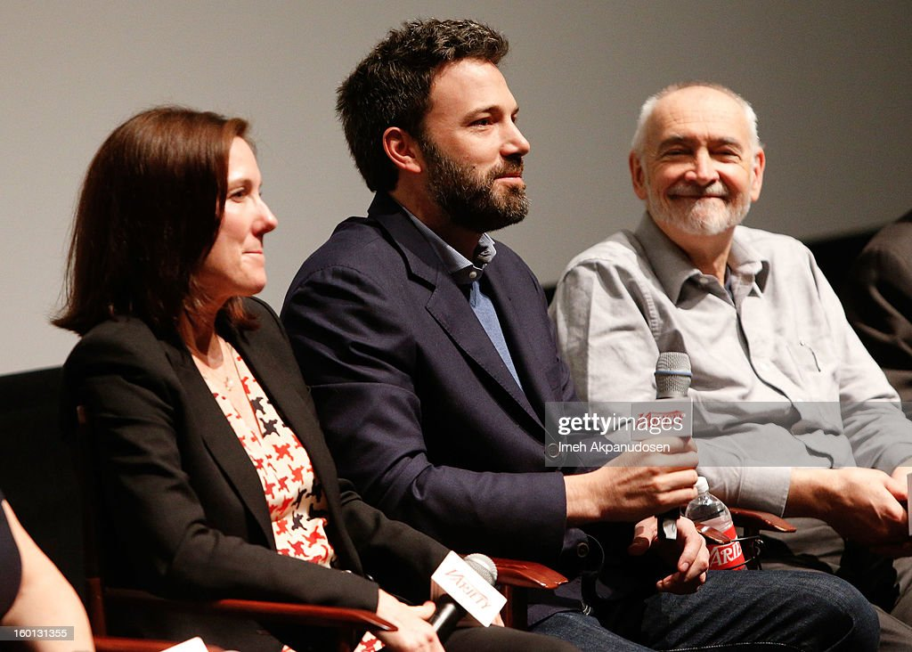 Producers Kathleen Kennedy, <a gi-track='captionPersonalityLinkClicked' href=/galleries/search?phrase=Ben+Affleck&family=editorial&specificpeople=201856 ng-click='$event.stopPropagation()'>Ben Affleck</a>, and <a gi-track='captionPersonalityLinkClicked' href=/galleries/search?phrase=Michael+G.+Wilson+-+Screenwriter&family=editorial&specificpeople=3963241 ng-click='$event.stopPropagation()'>Michael G. Wilson</a> attend the Producers Guild Awards Nominees Breakfast at the Landmark Theater on January 26, 2013 in Los Angeles, California.