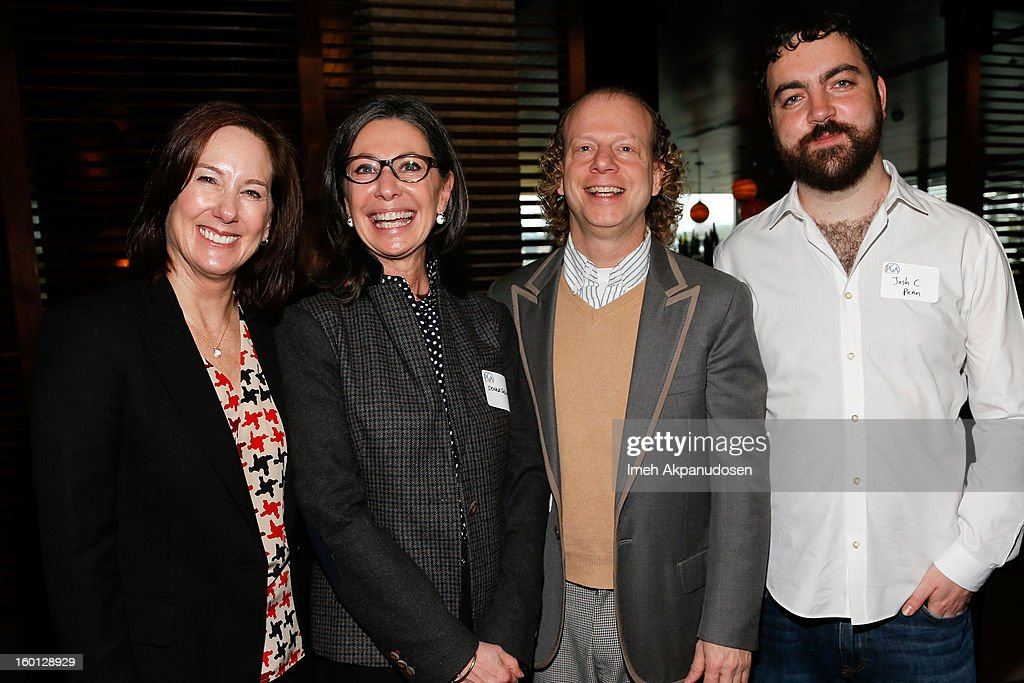 Producers Kathleen Kennedy, Donna Gigliotti, <a gi-track='captionPersonalityLinkClicked' href=/galleries/search?phrase=Bruce+Cohen&family=editorial&specificpeople=820103 ng-click='$event.stopPropagation()'>Bruce Cohen</a>, and Josh Penn attend the Producers Guild Awards Nominees Breakfast at the Landmark Theater on January 26, 2013 in Los Angeles, California.