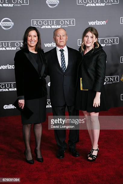 Producers Kathleen Kennedy Frank Marshall and a guest arrive at the premiere of Walt Disney Pictures and Lucasfilm's 'Rogue One A Star Wars Story' at...