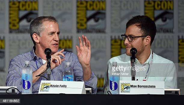 Producers Kevin Falls and Max Borenstein attend the 'Minority Report' panel during ComicCon International 2015 at the San Diego Convention Center on...