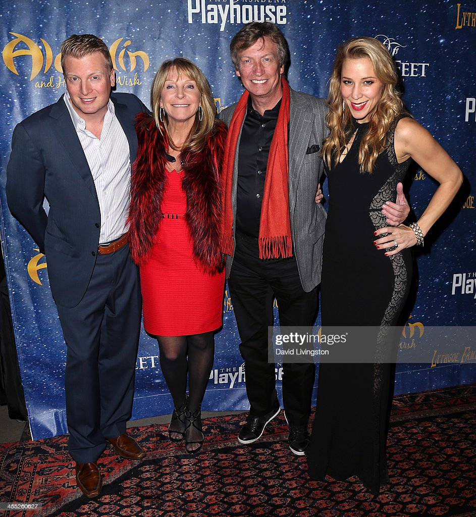 Producers Kris Lythgoe, Bonnie Lythgoe, <a gi-track='captionPersonalityLinkClicked' href=/galleries/search?phrase=Nigel+Lythgoe&family=editorial&specificpeople=736462 ng-click='$event.stopPropagation()'>Nigel Lythgoe</a> and Becky Baeling attend 'Aladdin and His Winter Wish' opening night at the Pasadena Playhouse on December 11, 2013 in Pasadena, California.