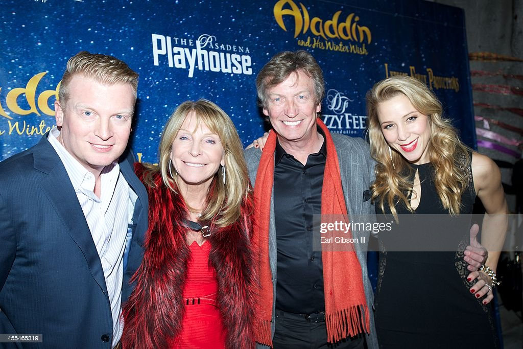 Producers Kris Lythgoe, Bonnie Lythgoe, <a gi-track='captionPersonalityLinkClicked' href=/galleries/search?phrase=Nigel+Lythgoe&family=editorial&specificpeople=736462 ng-click='$event.stopPropagation()'>Nigel Lythgoe</a> and Becky Baeling attend 'Aladdin And His Winter Wish' Opening Night at Pasadena Playhouse on December 11, 2013 in Pasadena, California.