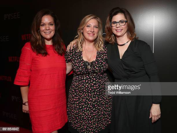 Producers Kristel Laiblin Joy Gorman and Mandy Teefey attend the Netflix's '13 Reasons Why' FYC Event at Netflix FYSee Space on June 2 2017 in...