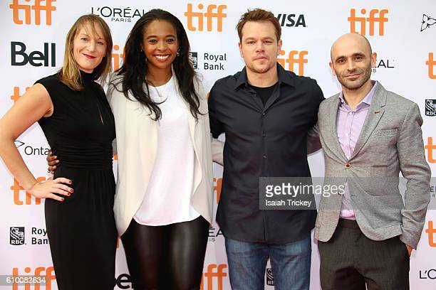 Producers Lauren Beck Kimberly Steward Matt Damon and Josh Godfrey attend the 'Manchester By The Sea' Toronto International Film Festival Premiere at...