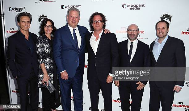 Producers Lawrence Bender and Lesley Chilcott former Vice President of the United States Al Gore producer/director Davis Guggenheim and producers...