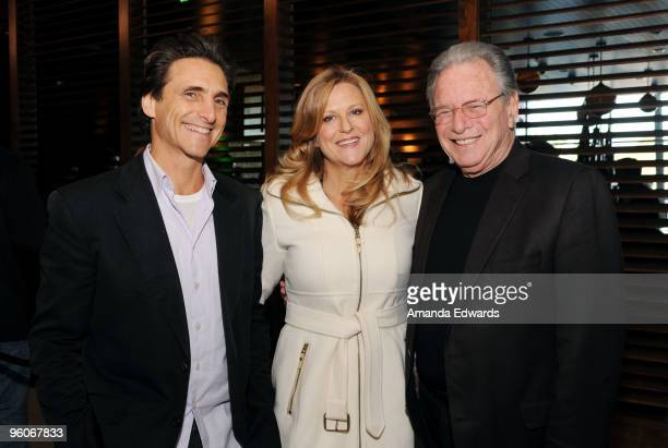 Producers Lawrence Bender Lori McCreary and Mace Neufeld attend the Producers Guild Awards Nominees Breakfast at the Landmark Theater on January 23...