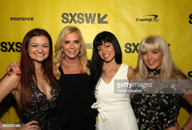 Producers Leah McKendrick Micki Purcel director Natalia Leite and actor Mariah Owen attends the premiere of 'MFA' during 2017 SXSW Conference and...