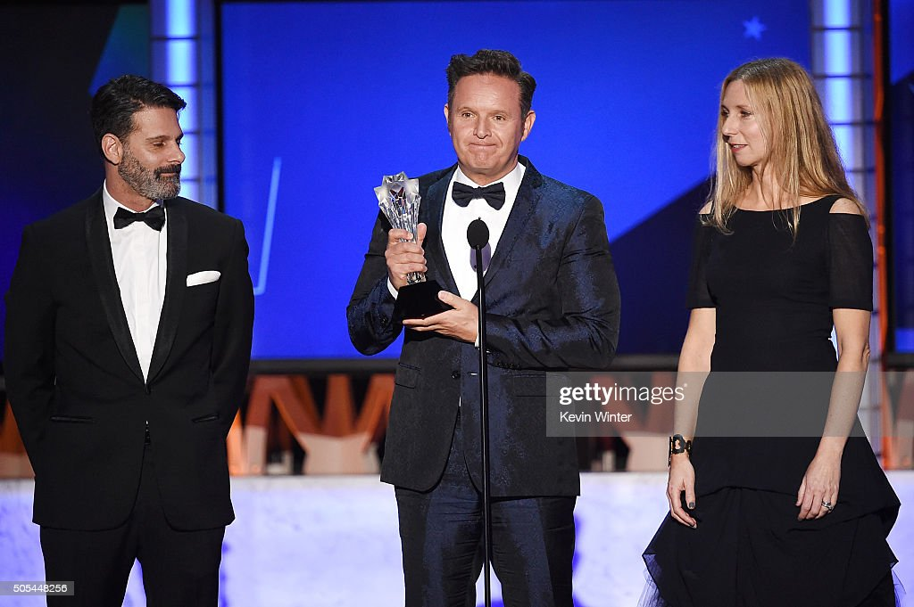 Producers Lee Metzger, Mark Burnett and Audrey Morrissey accept Best Reality Series - Competition award for 'The Voice' onstage during the 21st Annual Critics' Choice Awards at Barker Hangar on January 17, 2016 in Santa Monica, California.