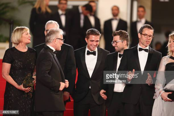 Producers Liz Watts David Linde Thierry Fremaux actor Robert Pattinson director David Michod and actor Guy Pierce attend 'The Rover' premiere during...