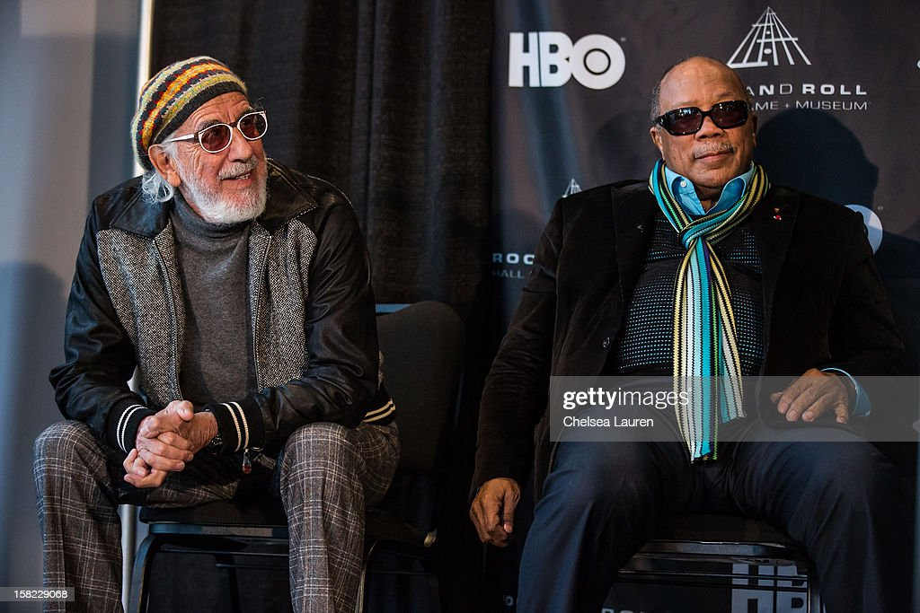Producers <a gi-track='captionPersonalityLinkClicked' href=/galleries/search?phrase=Lou+Adler+-+Record+Producer&family=editorial&specificpeople=228945 ng-click='$event.stopPropagation()'>Lou Adler</a> (L) and <a gi-track='captionPersonalityLinkClicked' href=/galleries/search?phrase=Quincy+Jones&family=editorial&specificpeople=171797 ng-click='$event.stopPropagation()'>Quincy Jones</a> attend the Rock & Roll Hall of Fame 2013 Inductee Press Conference at Nokia Theatre L.A. Live on December 11, 2012 in Los Angeles, California.
