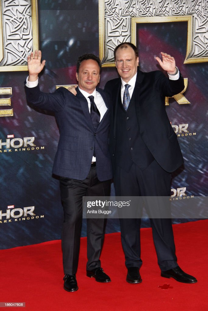 Producers Louis D'Esposito (L) and Kevin Feige attend the 'Thor: The Dark World' Germany premiere at Cinestar on October 27, 2013 in Berlin, Germany.