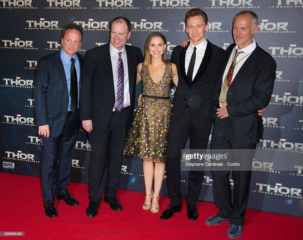 Producers Louis D'Esposito, Kevin Feige, actors Natalie Portman, Tom Hiddleston and director Alan Taylor attend 'Thor: The Dark World' Premiere at Le Grand Rex Cinema, in Paris.