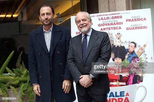 Producers Luigi De Laurentiis and Aurelio De Laurentiis attend a photocall for 'Natale A Londra Dio Salvi La Regina' at Visconti Palace on December...