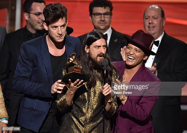 Producers Mark Ronson Jeff Bhasker and recording artist Bruno Mars accept the Record Of The Year award for 'Uptown Funk' onstage during The 58th...