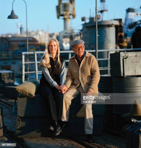 Producers Martha and Dino De Laurentiis sit on the set of their 2000 American movie U571 The film was written and directed by Jonathan Mostow