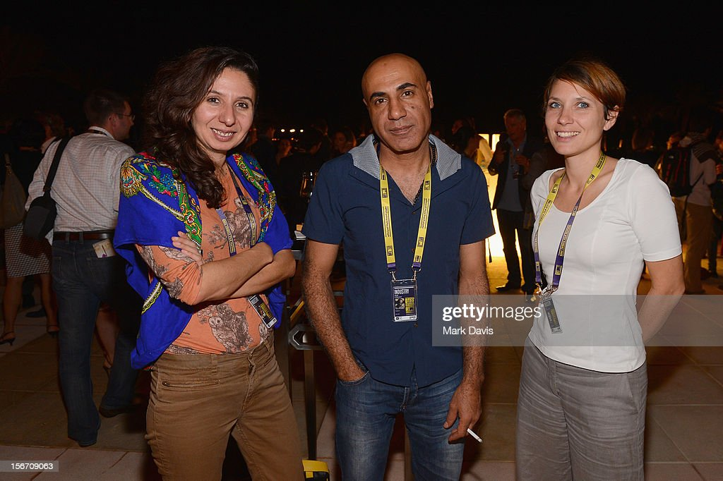 Producers May Odeh, Khalil El- Muzayen and Claire Mazeau Karouni attends Industry Cocktail durng the 2012 Doha Tribeca Film Festival at St Regis Hotel on November 19, 2012 in Doha, Qatar.