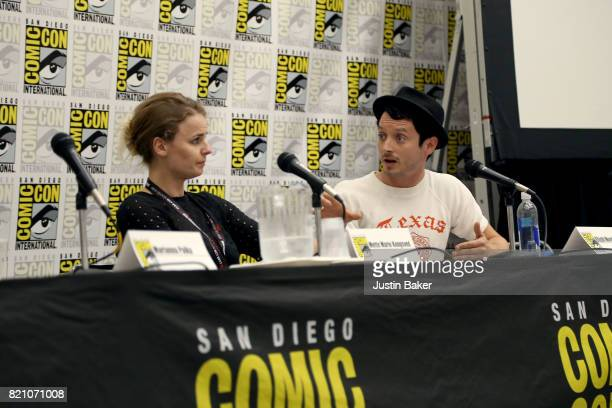 Producers Mette Marie Kongsved and Elijah Wood attend the Bold Voice of Contemporary Horror Panel at the 2017 ComicCon International on July 22 2017...