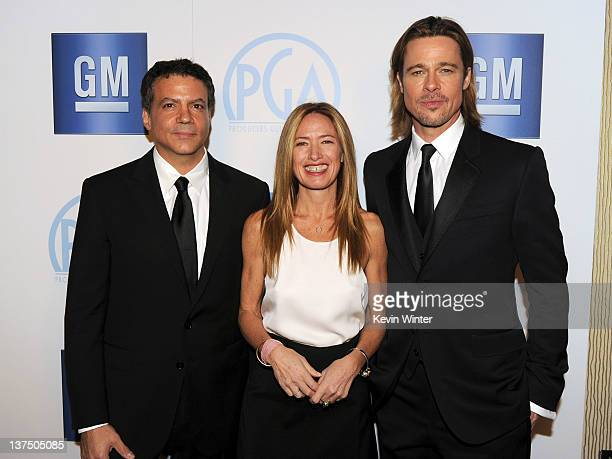 Producers Michael De Luca Rachel Horovitz and actor Brad Pitt attend the 23rd annual Producers Guild Awards at The Beverly Hilton hotel on January 21...
