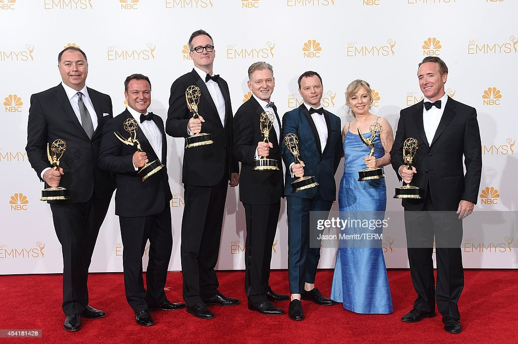 Producers Michael Frislev, Chad Oakes , John Cameron, Executive Producers Warren Littlefield, Show Creator/Executive Producer Noah Hawley, Producer Kim Todd and Executive Producer Geyer Kosinski winners of the Outstanding Miniseries Award for 'Fargo' pose in the press room during the 66th Annual Primetime Emmy Awards held at Nokia Theatre L.A. Live on August 25, 2014 in Los Angeles, California.