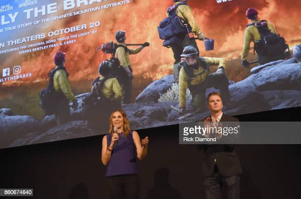 Producers Molly Smith and Trent Luckinbill attend 'Only The Brave' Nashville screening hosted by Dierks Bentley at The Belcourt Theatre on October 12...