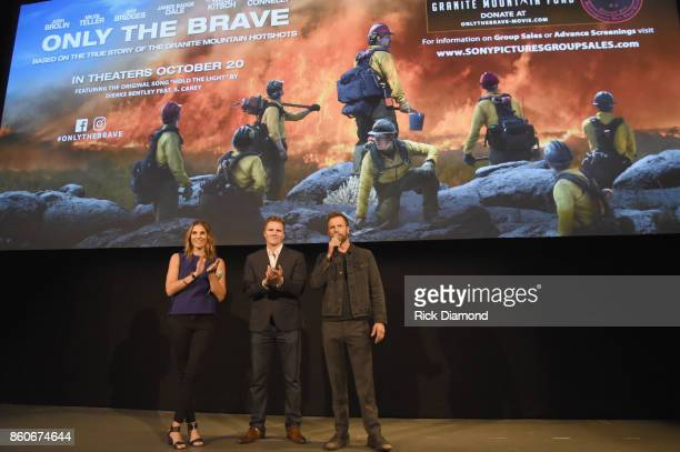 Producers Molly Smith Trent Luckinbill and singersongwriter Dierks Bently attend 'Only The Brave' Nashville screening hosted by Dierks Bentley at The...