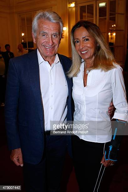 Producers Nicole and Gilbert Coullier attend the 'Open Space' Theater Play at Theatre de Paris on May 11 2015 in Paris France