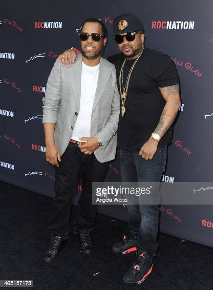 Producers NO ID and TheDream arrive at the Roc Nation PreGrammy brunch presented by MAC Viva Glam at a private residency on January 25 2014 in Los...