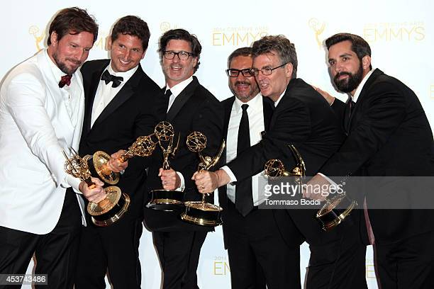 Producers of Discovery Channel's Deadliest Catch attend the 2014 Creative Arts Emmy Awards press room held at the Nokia Theatre LA Live on August 16...
