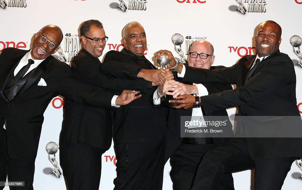 Producers of Real Husbands of Hollywood Ralph Farquhar, Jesse Collins, Stan Lathan, Tim Gibbons, and <a gi-track='captionPersonalityLinkClicked' href=/galleries/search?phrase=Chris+Spencer+-+Actor&family=editorial&specificpeople=4604418 ng-click='$event.stopPropagation()'>Chris Spencer</a> pose in the press room during the 45th NAACP Image Awards presented by TV One at Pasadena Civic Auditorium on February 22, 2014 in Pasadena, California.