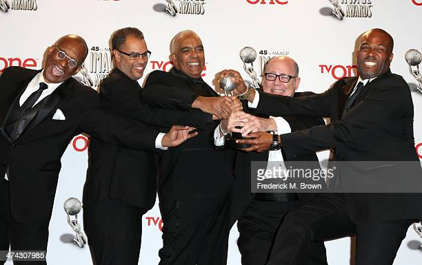 Producers of Real Husbands of Hollywood Ralph Farquhar Jesse Collins Stan Lathan Tim Gibbons and Chris Spencer pose in the press room during the 45th...