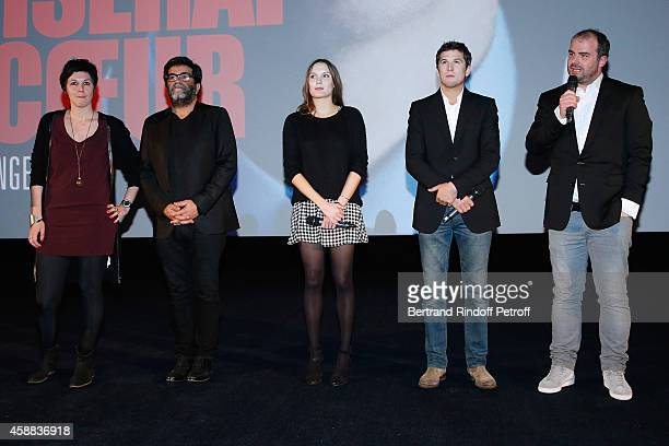 Producers of the movie Anne Rapczyk Alain Attal actors of the movie Ana Girardot Guillaume Canet and director of the movie Cedric Anger attend the...