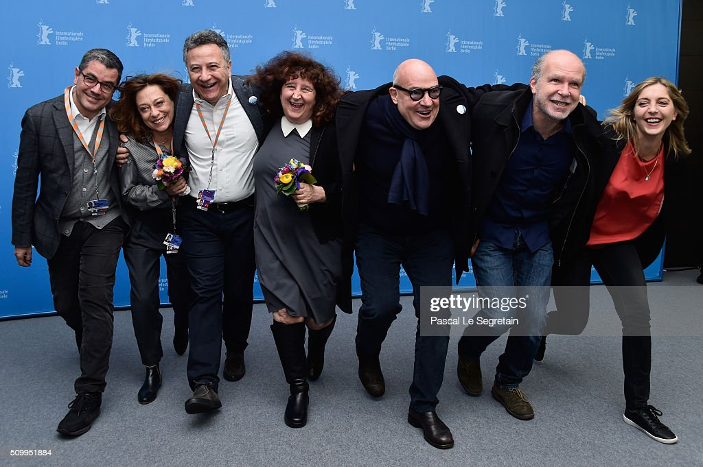 Producers Paolo Del Broco, Donatella Palermo, director Gianfranco Rosi and producer Serge Lalou attend the 'Fire at Sea' (Fuocoammare) photo call during the 66th Berlinale International Film Festival Berlin at Grand Hyatt Hotel on February 13, 2016 in Berlin, Germany.