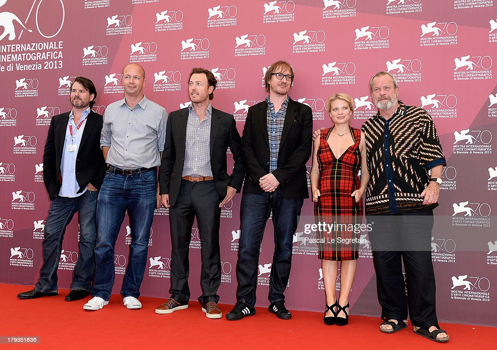 Producers Patrick Newall, Nicolas Chartier and Dean Zanuck, actors David Thewlis, Melanie Thierry and director Terry Gilliam attend 'The Zero Theorem' Photocall during the 70th Venice International Film Festival at the Palazzo del Casino on September 2, 2013 in Venice, Italy.