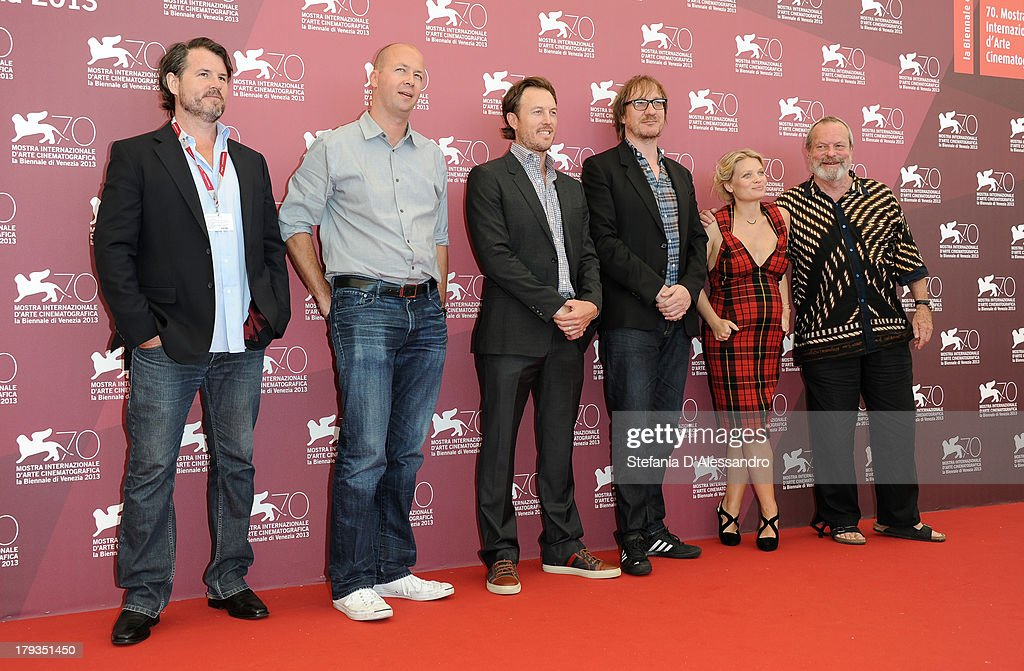 Producers Patrick Newall, Nicolas Chartier, Dean Zanuck, Actors David Thewlis, Mélanie Thierry and Director Terry Gilliam attend 'The Zero Theorem' Photocall during the 70th Venice International Film Festival at Palazzo del Casino on September 2, 2013 in Venice, Italy.