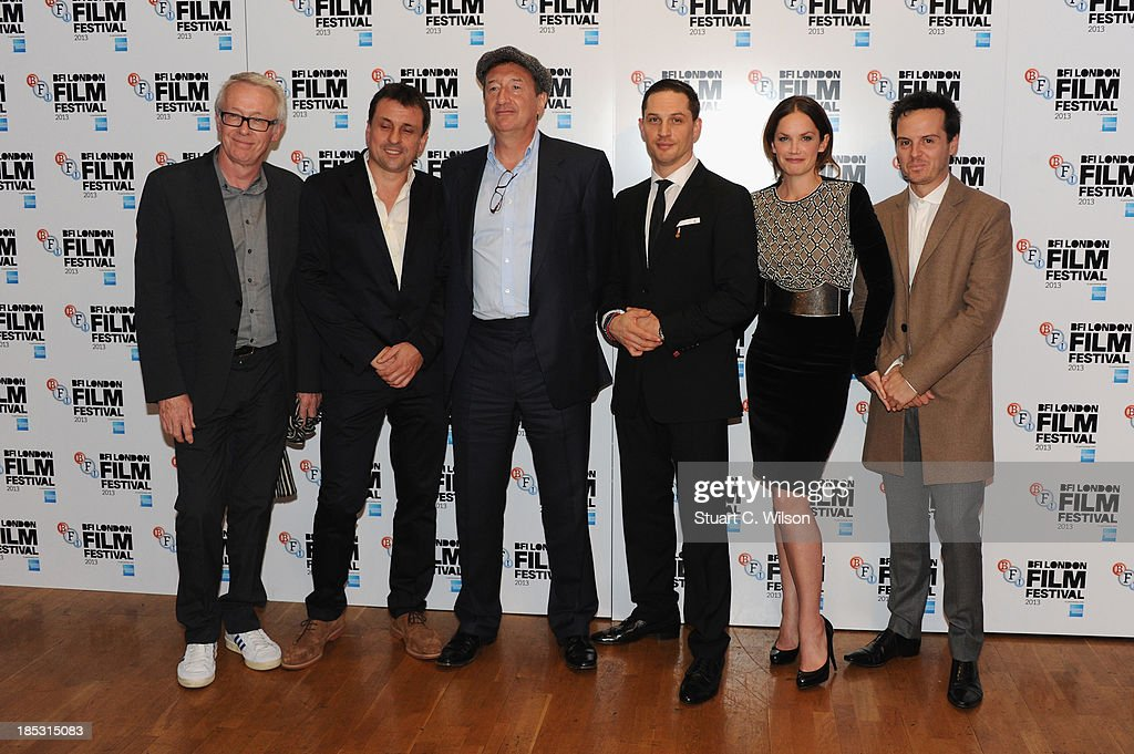 Producers Paul Webster, Guy Heeley, director Steven Knight, actors <a gi-track='captionPersonalityLinkClicked' href=/galleries/search?phrase=Tom+Hardy+-+Actor&family=editorial&specificpeople=2209780 ng-click='$event.stopPropagation()'>Tom Hardy</a>, <a gi-track='captionPersonalityLinkClicked' href=/galleries/search?phrase=Ruth+Wilson+-+Actress&family=editorial&specificpeople=3111655 ng-click='$event.stopPropagation()'>Ruth Wilson</a> and Andrew Scott attend a screening of 'Locke' during the 57th BFI London Film Festival at Odeon West End on October 18, 2013 in London, England.
