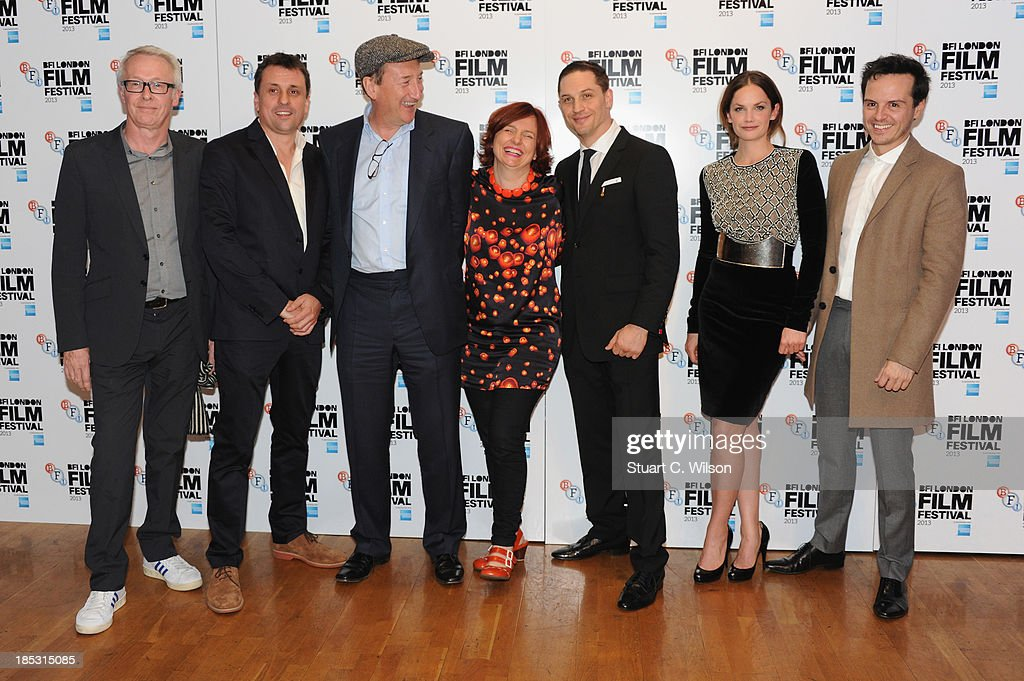 Producers Paul Webster, Guy Heeley, director Steven Knight, Clare Stewart, actors <a gi-track='captionPersonalityLinkClicked' href=/galleries/search?phrase=Tom+Hardy+-+Actor&family=editorial&specificpeople=2209780 ng-click='$event.stopPropagation()'>Tom Hardy</a>, <a gi-track='captionPersonalityLinkClicked' href=/galleries/search?phrase=Ruth+Wilson&family=editorial&specificpeople=3111655 ng-click='$event.stopPropagation()'>Ruth Wilson</a> and Andrew Scott attend a screening of 'Locke' during the 57th BFI London Film Festival at Odeon West End on October 18, 2013 in London, England.