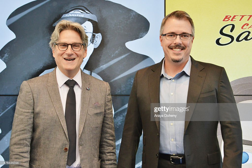 Producers Peter Gould and Vince Gilligan attend the 5th Annual Critics' Choice Television Awards at The Beverly Hilton Hotel on May 31 2015 in...