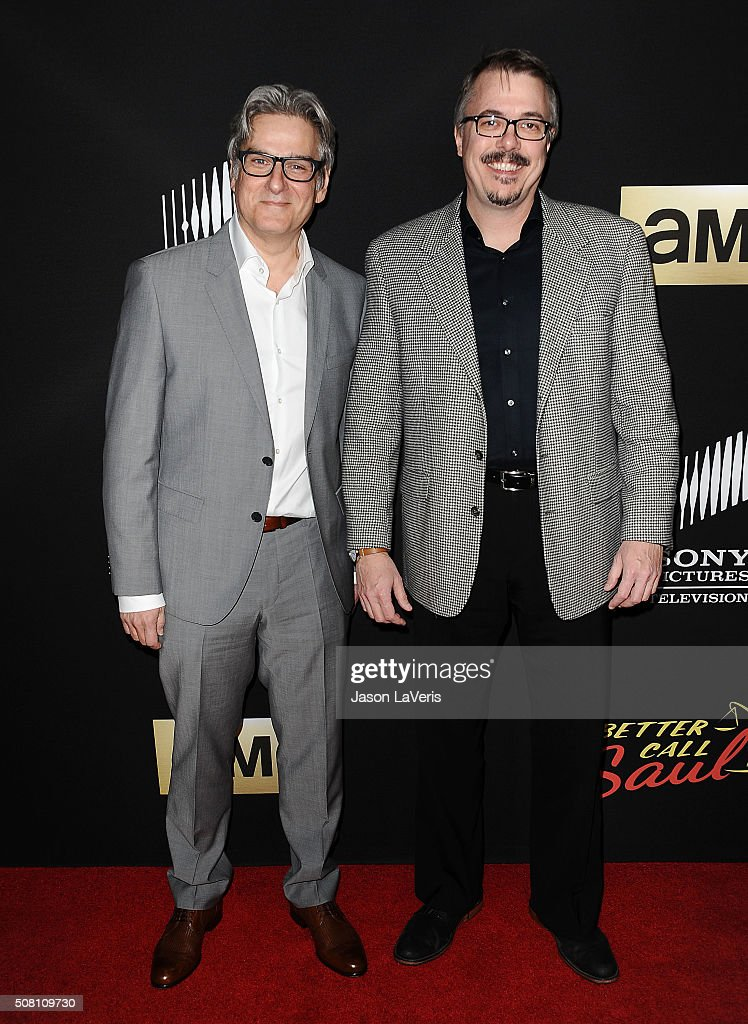 Producers Peter Gould and Vince Gilligan attend the Season 2 premiere of 'Better Call Saul' at ArcLight Cinemas on February 2 2016 in Culver City...